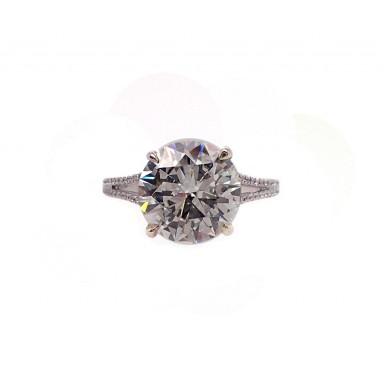 4CT Round Split Shank Engagement Ring
