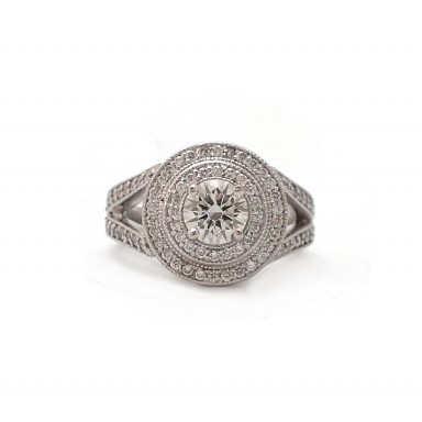 Antique Style Double Halo Engagement Ring