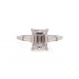 Emerald Cut Diamond Engagement Ring with Tapered Baguettes