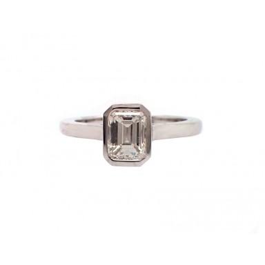 Bezel Set Emerald Cut Diamond Engagement Ring