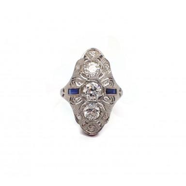 Art Deco Three Old Mine Cut Diamond  Estate Ring