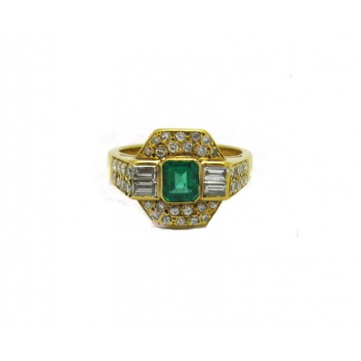 Estate Emerald and Diamond Ring