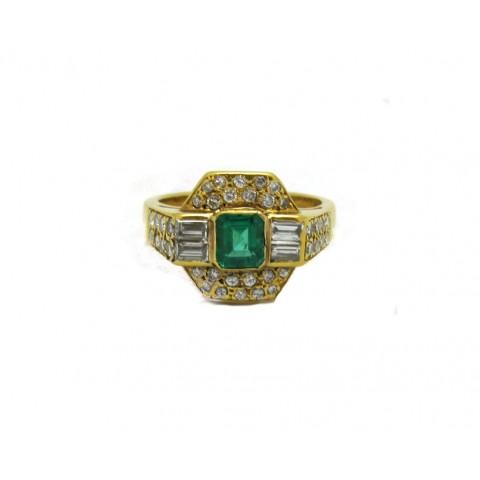 Estate Emerald and Diamond Ring