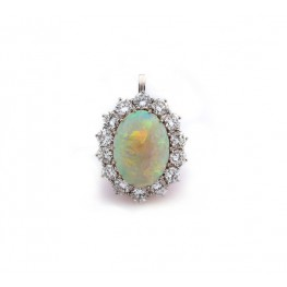 Estate Opal and Diamond Pendant