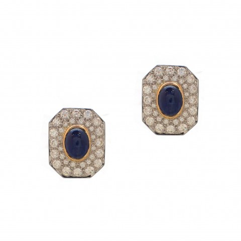 Estate Cabochon Sapphire Earrings
