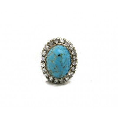 Vintage Turquoise and Diamond Ring