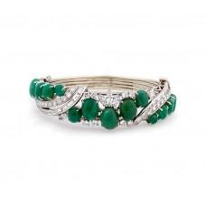 Estate Cabochon Emerald Bracelet