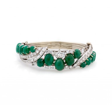 Estate Cabochon Emerald Bracelet