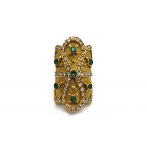 Estate Emerald and Diamond Yellow Gold Ring