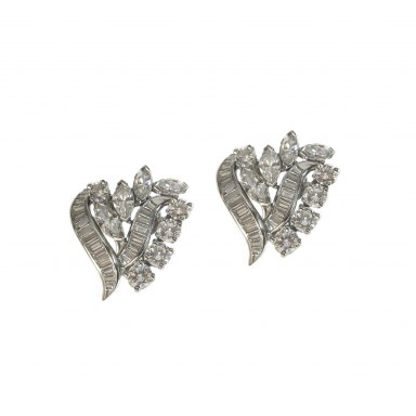 Elegant Estate Marquise and Baguette Earrings