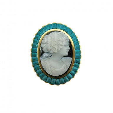 Estate Turquoise and Onyx Cameo Pin