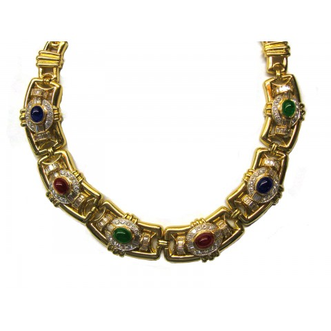 Estate Yellow Gold and Cabochon Stone Necklace