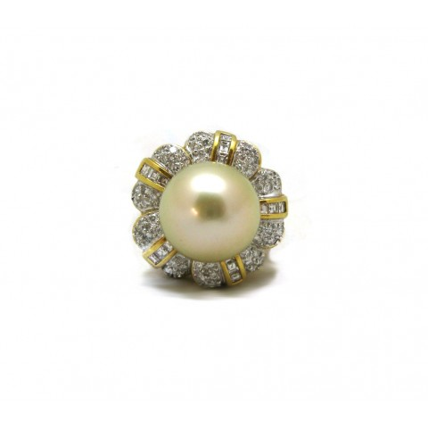 Large Golden Pearl Ring