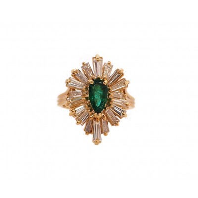 Pear Shape Emerald Ballerina Ring