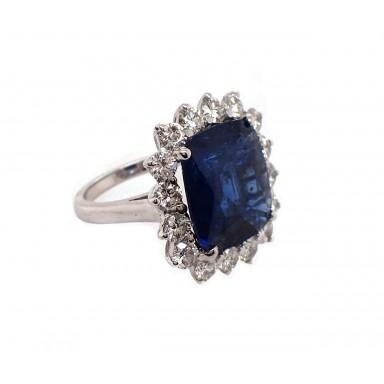 8CT Blue Sapphire and Diamond Ring
