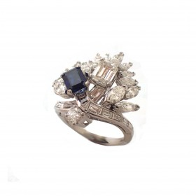 Estate Diamond and Sapphire Fancy Ring