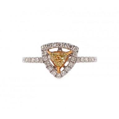 Fancy Yellow Trillion Diamond Ring