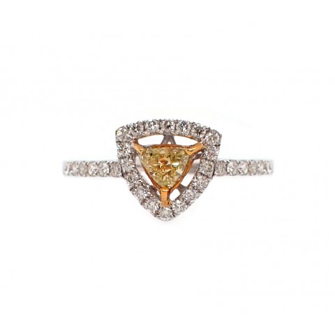 Fancy Yellow Trillion Diamond Ring