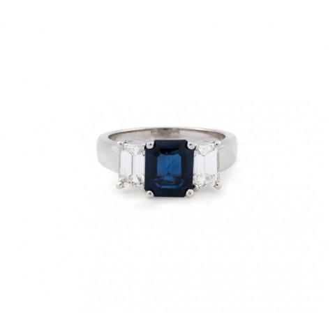 Sapphire and Emerald Cut Diamond Ring