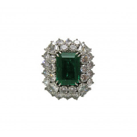 Convertible Emerald and Diamond Fancy Ring / Pendant