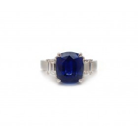 6CT Sapphire and Trapezoid Cut Diamond Ring