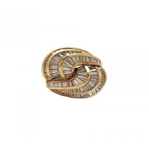 Jose Hess Swirling Diamond Baguette Ring in 18 Karat Yellow Gold