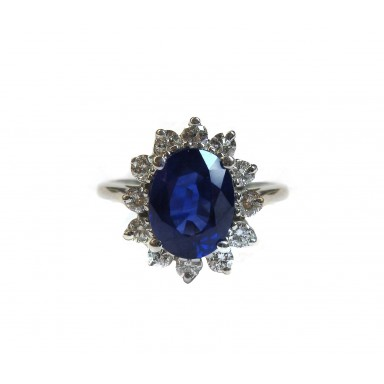 Classic Sapphire and Diamond Ring