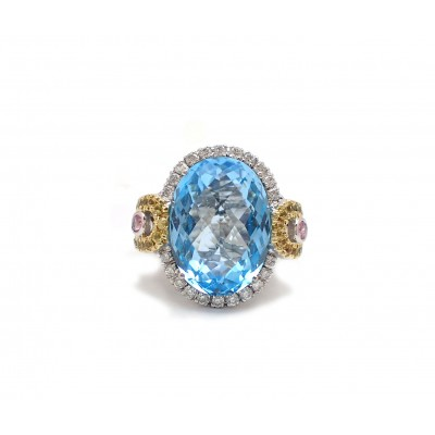 Fancy Topaz Ring with Halo