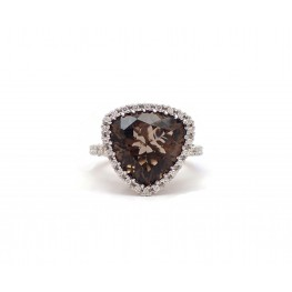 Brown Topaz and Diamond Ring