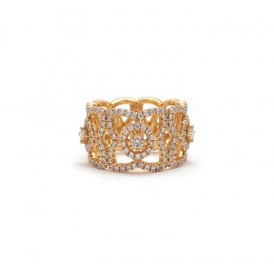 Filigree Style Wide Yellow Gold Wedding Band