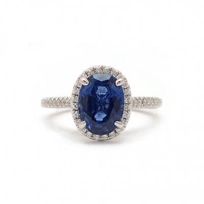 3CT Cornflower Blue Sapphire and Diamond Ring