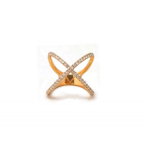 Yellow Gold X Ring