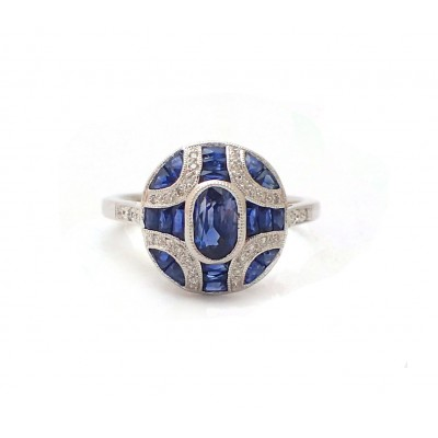 Antique Style Oval Sapphire and Diamond Ring