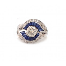 Estate Diamond and Sapphire Engagement Ring
