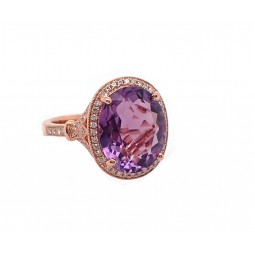 Amethyst and Diamond Rose Gold Ring