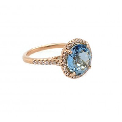 Aquamarine and Diamond Yellow Gold Ring