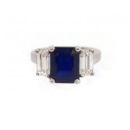 3CT Emerald Cut Sapphire and Diamond 3 Stone Ring in Platinum