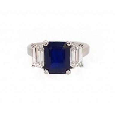 3CT Emerald Cut Sapphire and Diamond 3 Stone Ring in Platinum