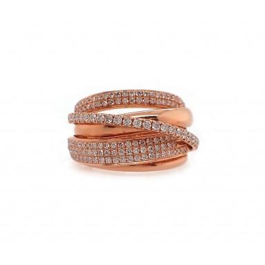 Pink Gold Diamond Twist Ring