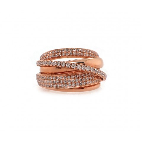 Pink Gold Diamond Twist Ring