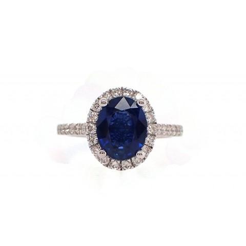 2.5CT Cornflower Blue Sapphire and Diamond Ring