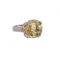 Yellow Peridot and Diamond Ring