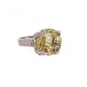 Yellow Peridot and Diamond Ring