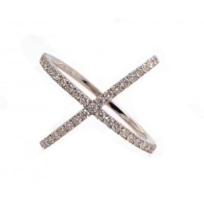 White Gold X Ring