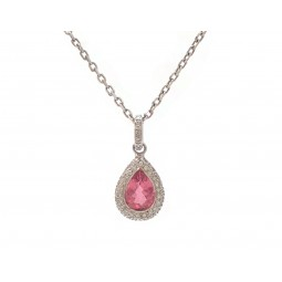 Pink Tourmaline and Diamond Pendant