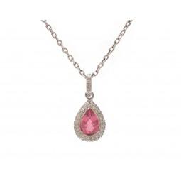 Pear Shape Pink Tourmaline and Diamond Pendant