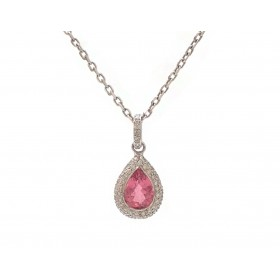 Pear Shape Pink Tourmaline and Diamond Pendant