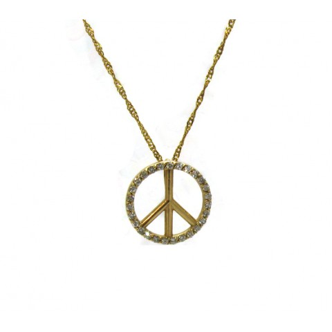 Peace Sign Pendant - Yellow
