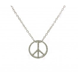Peace Sign Pendant - White