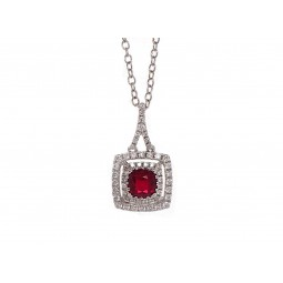Cushion Cut Ruby and Diamond Pendant